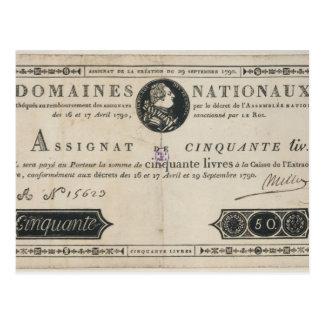 Carte Postale billet de banque de 50 livres, le 29 octobre 1790