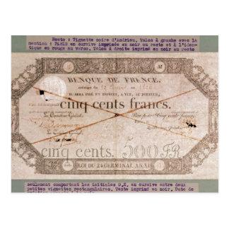 Carte Postale Billet de banque pour 500 francs du 24ème germinal