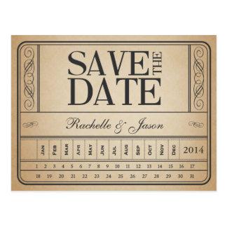 Carte Postale Billet vintage II -- Faites gagner la date