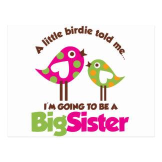 Carte Postale Birdie allant être une grande soeur