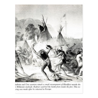 Carte Postale Blackfeet d'attaque de guerriers d'Assiniboin et
