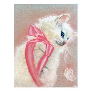 Carte postale blanche d'arc de rose de chat de