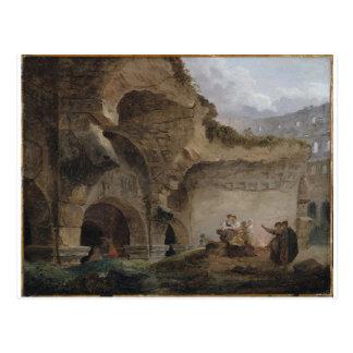 Carte Postale Blanchisseuses dans les ruines du Colosseum Hubert