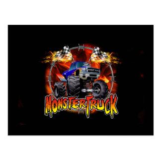 Carte Postale Bleu de camion de monstre sur le feu