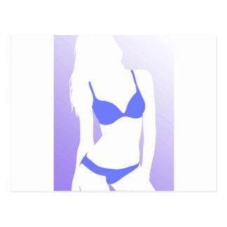 Carte Postale Bleu de fille de bikini