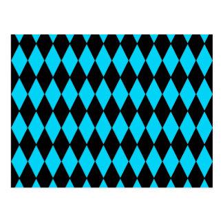 Carte Postale Bleu de turquoise turquoise et motif de diamant