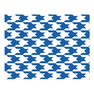 Carte Postale Bleu d'éblouissement du motif 1 de pied-de-poule
