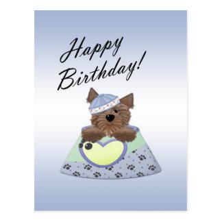 Carte postale bleue de chien de garçon de joyeux a
