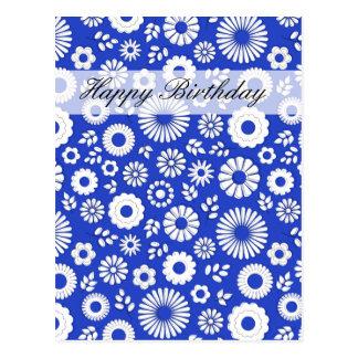 Carte postale bleue profonde florale de joyeux
