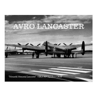 Carte Postale Bombardier d'Avro Lancaster