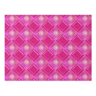 Carte Postale Bonbon 16, nombre rose de diamants