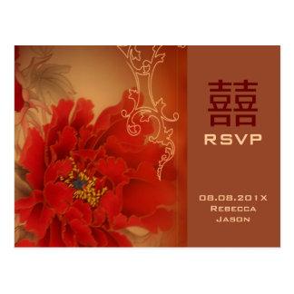Carte Postale Bonheur rouge RSVP l'épousant chinois de double de