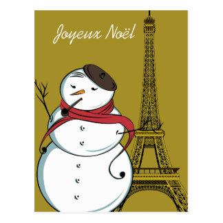 Carte Postale Bonhomme de neige de Joyeux Noël
