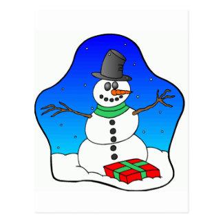 Carte Postale Bonhomme de neige de Noël heureux