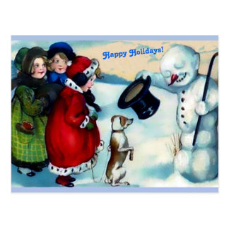 Carte Postale Bonhomme de neige de Vintaage, filles, chien,