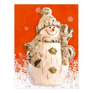 Carte Postale Bonhomme de neige découpé de figue