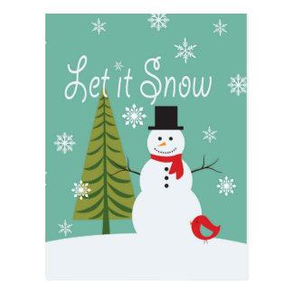 Carte Postale bonhomme de neige moderne d'hiver de tendances