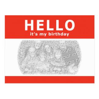 Carte Postale bonjour, c'est mon anniversaire ! nametag