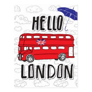 Carte Postale Bonjour signe en lettres de main de Londres | avec
