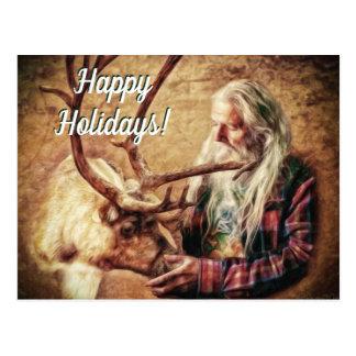 Carte Postale Bonnes fêtes Père Noël et renne par le Mac de