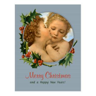 Carte Postale Bouguereau embrassent d'abord Noël des enfants