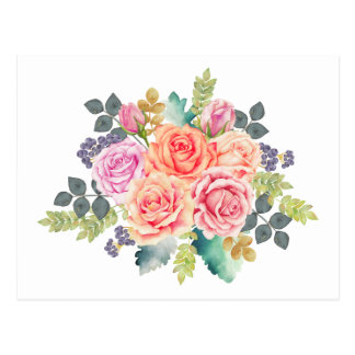 Carte Postale Bouquet rose