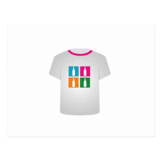 Carte Postale Bouteilles colorées sur une chemise