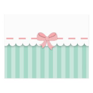 Carte Postale Bow Menthe et Rose