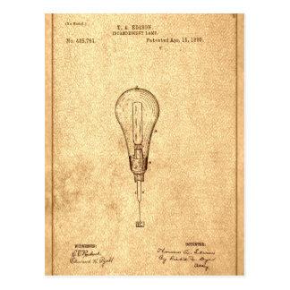 Carte Postale Brevet d'ampoule d'Edison