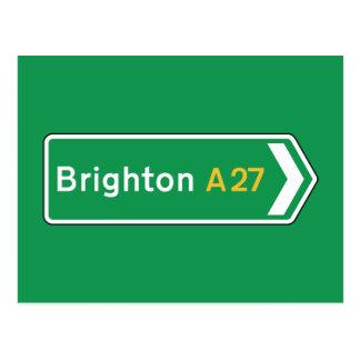 Carte Postale Brighton, panneau routier BRITANNIQUE