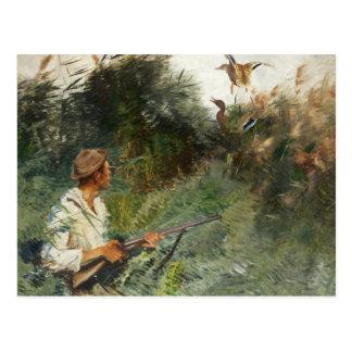 Carte Postale Bruno Liljefors - chasseur et canards