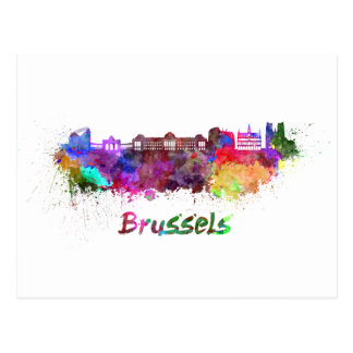 Carte Postale Bruxelles skyline in watercolor