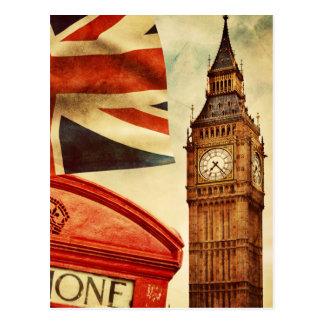 Carte Postale Cabine téléphonique rouge et Big Ben à Londres,