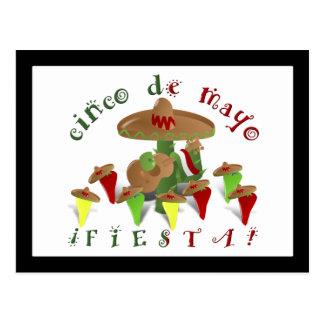 Carte Postale Cactus de fiesta avec des poivrons de guitare et