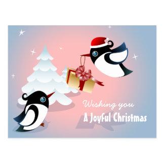 Carte Postale Cadeau de Noël mignon d'oiseaux
