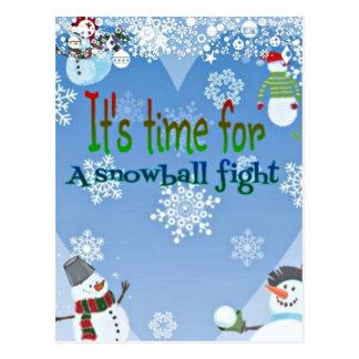 Carte Postale Cadeaux drôles de Noël de combat de Snowball de
