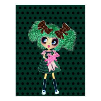 Carte Postale Cadeaux girly verts de fille gothique de Lolita