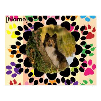 Carte Postale Cadre de patte d'animal familier personnalisable