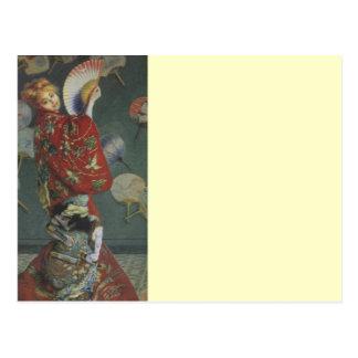 Carte Postale Camille avec le kimono japonais et fan