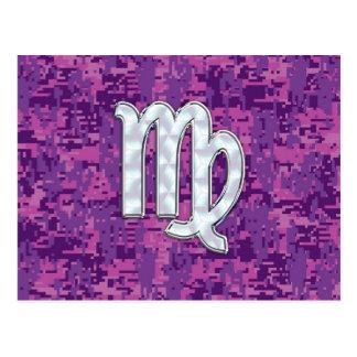 Carte Postale Camouflage fuchsia de Digitals de rose de signe de