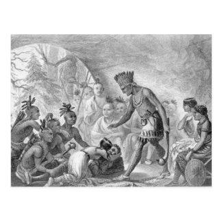 Carte Postale Capitaine Smith secouru par Pocahontas