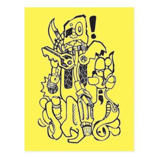 Carte Postale Caractère maladroit d'ordure/robot de pièces