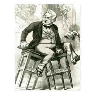 Carte Postale Caricature d'Adolphe Thiers entre deux