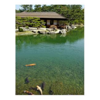 Carte Postale Carpes de Koi dans un jardin japonais