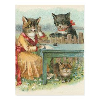 """Carte Postale """"Carte postale vintage de la famille de chat"""""""