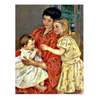 Carte Postale Cassatt : Mère et Sara admirant le bébé