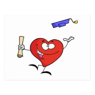 Carte Postale Célébration du caractère rouge de diplômé de coeur