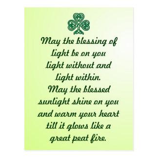 carte postale celtique de shamrock de bénédiction