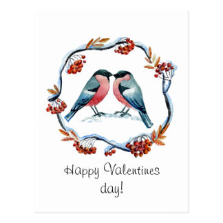 Carte Postale Cendre de montagne d'amour de bouvreuil