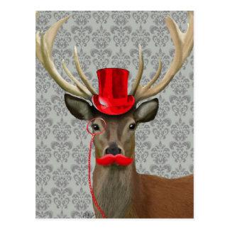 Carte Postale Cerfs communs avec Red Hat et la moustache